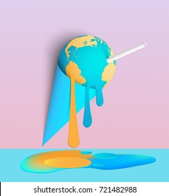 ice cream earth melts, concept for global warming, pastel color with paper art style.