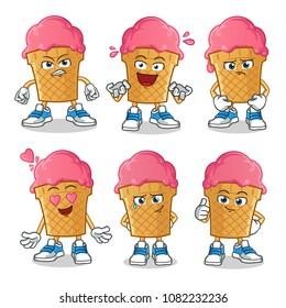 ice cream expressions pack 1 mascot vector cartoon illustration