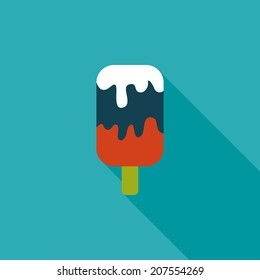 ice cream flat icon with long shadow