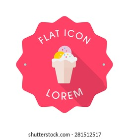 Ice cream flat icon with long shadow on badge background,EPS 10