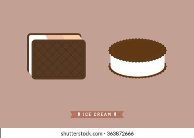 Ice cream flat icon with a shadow, Vector flat gelato icon. Vector illustration