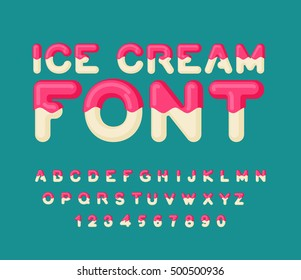 Ice cream font. Popsicle alphabet. Cold sweets ABC. Food typography. Edible letters. dessert lettering