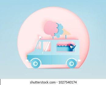 Ice cream food truck in paper art digital craft style and pastel color scheme vector illustration