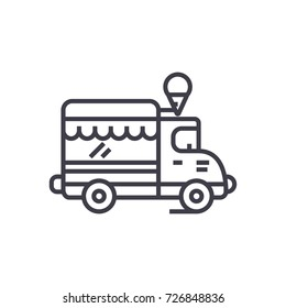 ice cream, food truck vector line icon, sign, illustration on background, editable strokes