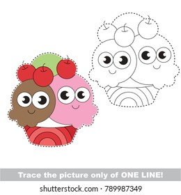 Ice Cream funny to be traced only of one line, the tracing educational game to preschool kids with easy game level, the colorful and colorless version.