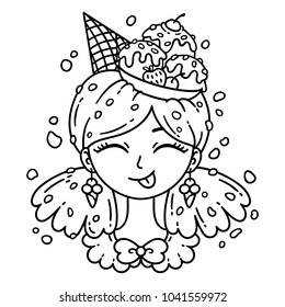 Ice cream girl. Vector illustration. Coloring page.