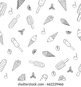Ice cream Hand Drawn Pattern. Drawing Sundae, Sorbet, Lolly. Summer Seamless Background. Sketch Icons of Icecream. Handdrawn Texture with Doodle Elements and Symbols. Vector Illustrations.
