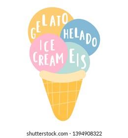 Ice cream, helado, eis, gelato. Translation concept. Hand drawn vector icon illustrations on white background.