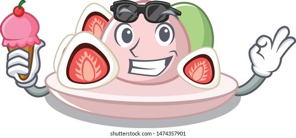 With ice cream ichigo daifuku with the cartoon shape