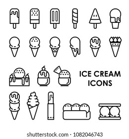 ice cream icons 2D and line style