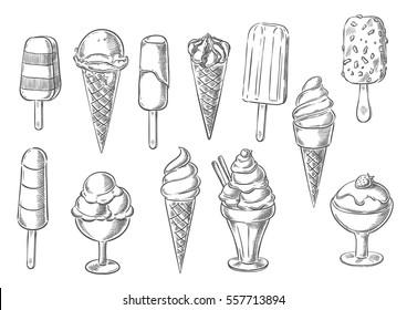 Ice cream icons of frozen creamy desserts, gelato ice cream, wafer cone, caramel eskimo or chocolate glaze sundae with nuts, whipped cream and fruit ice, fresh vanilla scoops in glass bowl