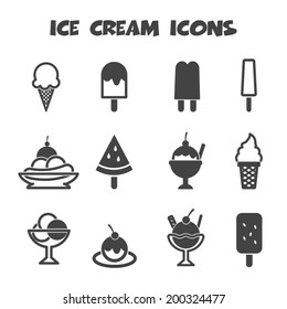 ice cream icons, mono vector symbols