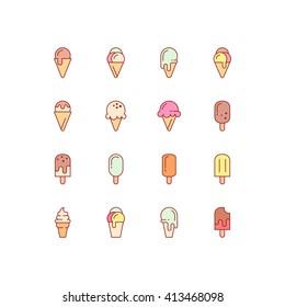Ice cream icons. Vector set of simple linear icons. Ice cream logo. EPS 8.