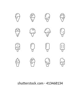 Ice cream icons. Vector set of simple linear icons. Black signs on white background. EPS 8.