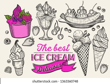 Ice cream illustration for restaurant on vintage background. Vector hand drawn gelato icons for food and dessert cafe. Design with lettering and doodle graphic fruits and sweets.