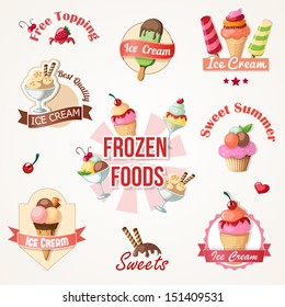 ice cream labels and badges collections eps10 vector illustration