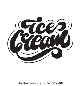 Ice Cream Lettering Logo Design. Vector illustration.