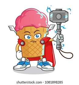 ice cream lightning god angry mascot vector cartoon illustration