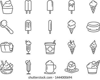 Ice cream line icon set. Included icons as sweet, cool, frozen, soft cream, flavor, dairy and more.