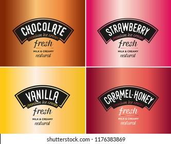 Ice cream logo & brand vector. Flavours and tastes. Strawberry, chocolate, caramel, honey, vanilla.
