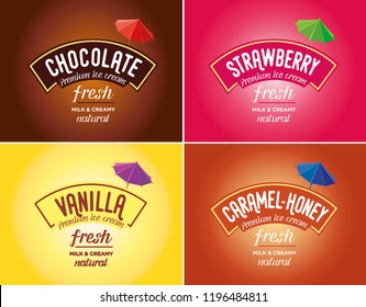 Ice cream logo & brand vector. Flavours and tastes.Strawberry, chocolate, caramel, honey, vanilla. Colorful tasty backgrounds.