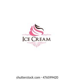 Ice Cream logo, frozen yogurt vector, cupcake