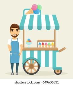 The ice cream man standing next to the kiosk. The seller is dressed in an apron. Different ice cream. Small business, trade. Shopping tent on wheels. Cute. In flat style, cartoon.
