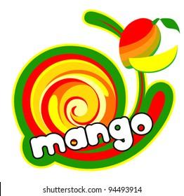 Ice cream mango. Background for design of packing. Vector illustration.