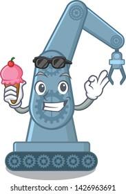 With ice cream mechatronic robotic arm in mascot shape