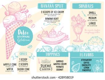 Ice cream menu placemat food restaurant brochure, dessert template design. Vintage creative sweet template with hand-drawn graphic. Vector food menu flyer. Gourmet menu board.