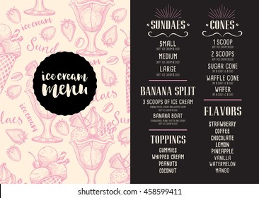 Ice cream menu placemat food restaurant brochure, template design. Vintage creative dinner flyer with hand-drawn graphic.