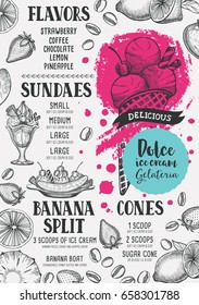 Ice cream menu for restaurant and cafe. Design template with hand-drawn graphic elements in doodle style.