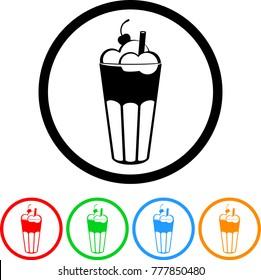 Ice Cream Milkshake or Root Beer Float Icon in Four Color Variations Vector