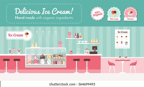 Ice cream parlor banner, shop interior and desserts on display