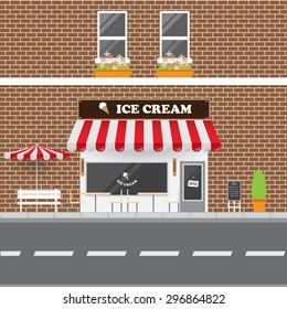 Ice Cream Parlor Facade with Street Landscape. Brick Building Retro Style Facade  Vector Illustration.