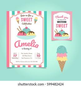 Ice Cream Party Invitation Images Stock Photos Vectors