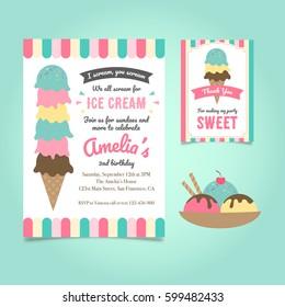 Ice Cream Party Birthday Invitation Template