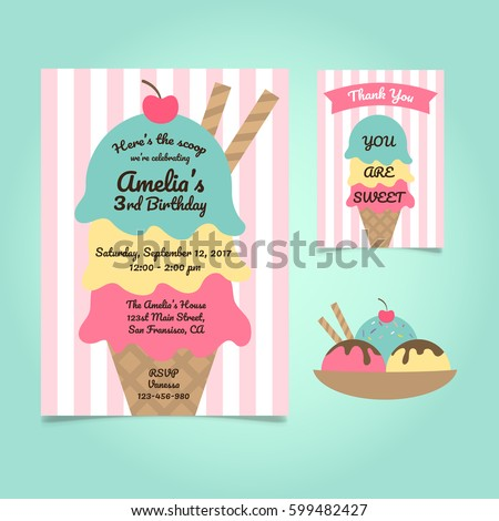 Ice Cream Party Birthday Invitation Template