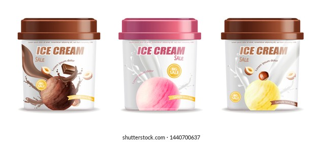 Ice cream plastic bucket container set packaging Vector realistic. Chocolate, strawberry and vanilla flavor. Label design 3d illustration