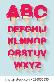 ice cream /popsicle alphabet/typography/typeface/font vector/illustration