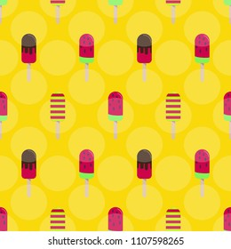 Ice cream or popsicle seamless retro vector pattern.  Tasty colorful summer desert - fruit ice lolly. Design for wallpaper, wrapping, fabric, background, apparel, prints, banners.
