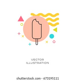 Ice cream popsicle vector line logo icon with colorful design elements memphis styled in background