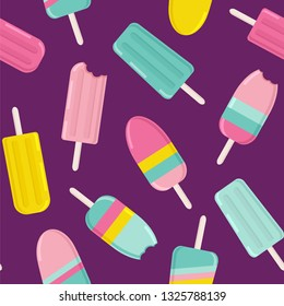 Сute ice cream and popsicles background. Seamless vector pattern with popsicles in bright colors.