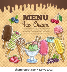 Ice cream poster. Wafer sketch background. Ice cream assortment of scoops in glass bowl, chocolate eskimo, sundae wafer cone, frozen fruit ice. Sweet ice cream dessert menu card or sign board.