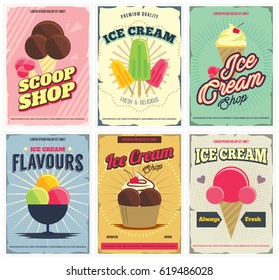 Ice Cream  posters set in retro style. Flyer design templates for scoop shop, restaurant, ad and more. Isolated. Vector.
