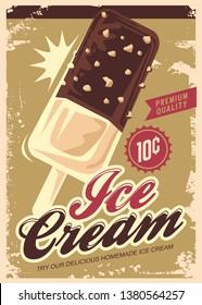 Ice Cream promotional retro poster design. Summer sweet dessert vintage sign. Icecream ad with chocolate, vanilla and hazelnut aroma. Vector illustration.