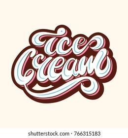 Ice Cream Retro Lettering Logo Design. Vector illustration.