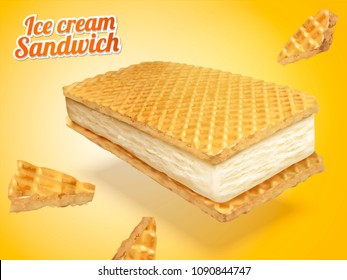 Ice cream sandwich with wafer cookies and milk fillings illustration, chrome yellow background