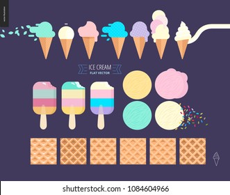 Ice cream scoops in waffle cones set - flat cartoon vector illustration of popsicles, ice creams, vanilla, mint, pink, purple and fruit scoops, waffle paterns, sprinkles, lettering - composition set