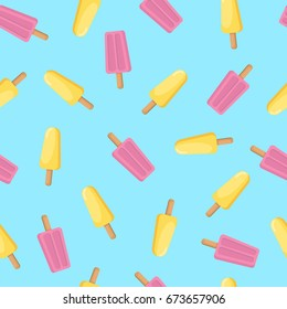 Ice cream seamless pattern. Delicious sweet desserts. Colorful summer background. Vector illustration. Ice lolly